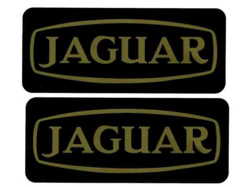 C35732 2 X JAGUAR ROCKER COVER distintivi black gold lettering