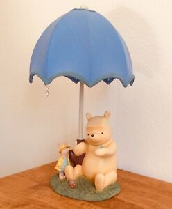 "Vintage Just Begun Winnie The Pooh & Piglet ""Rain Drop"" Umbrella Lamp By Disney"