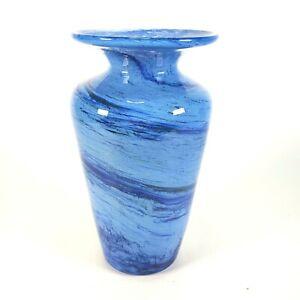 Vintage-Blue-Swirl-Hand-Blown-Art-Glass-Vase-8-5-034-Tall