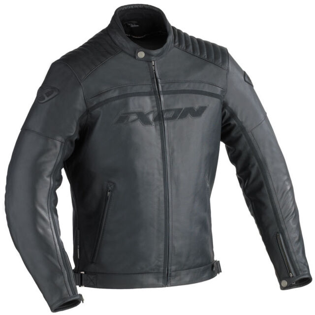 Blouson CUIR jacket Homme IXON PISTON NOIR Taille XL - Streetmotorbike