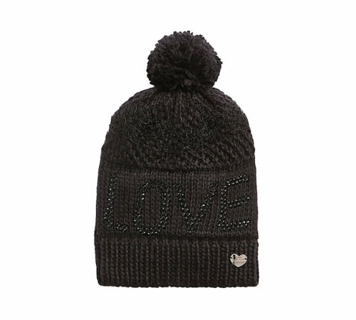 Betsey Johnson BLACK  LOVE Pom-Pom Beanie Knit Hat NWTS