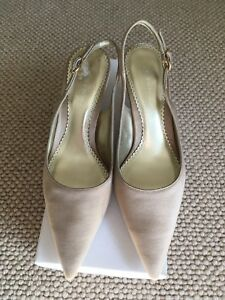BNIB-Gold-Satin-Slingback-Court-Shoe-Kitten-Heel-Size-38