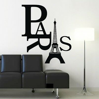Paris Art Eiffel Tower Removable Wall Stickers Decals Quote Home Decor Vinyl AE