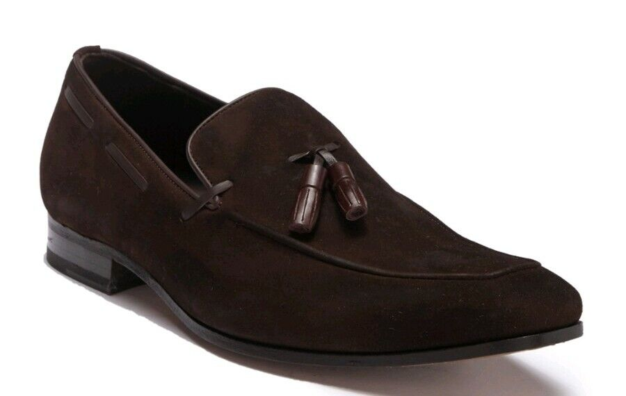 NEW Mezlan Mens 11.5 Brown Burnished Suede Tassel SlipOn Loafer Dress shoes  325
