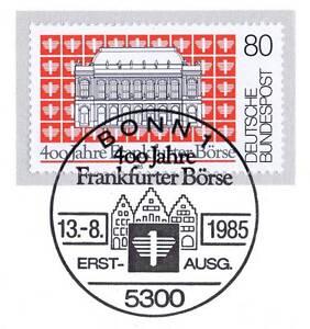 Rfa 1985: Bourse De Francfort 400 Ans! Nº 1257 Avec Bonner Cachet Spécial 1 A 1812-afficher Le Titre D'origine