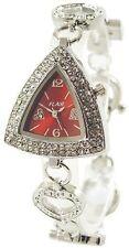 Flair Damenuhr Rot Silber Strass Charms Betteluhr Armbanduhr D-60356119597399