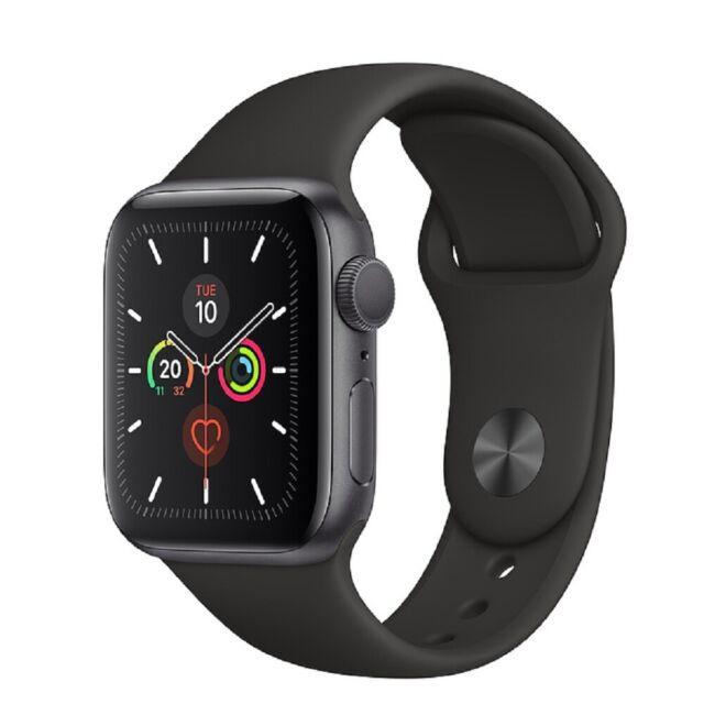 Apple Watch Series 5 GPS 40mm Boîtier en aluminium gris sidéral-Noir Sport