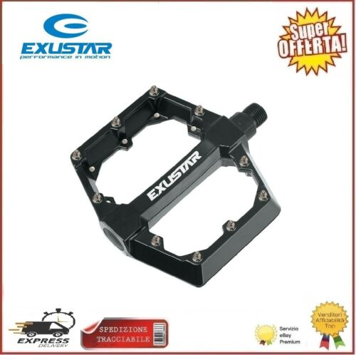 Pedali Mtb Flat Alluminio Exustar E-PB70 Bmx Enduro Freerider Nero 115x108mm