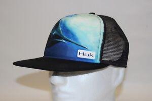 1842a8d3d16 Huk KC Scott Northdrop Flat Bill Mesh Cap Hat in Black with Free ...