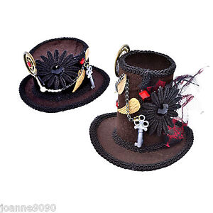 Mujer-Steampunk-Mini-Sombrero-De-Copa-Loco-Disfraz-Halloween-Accesorio