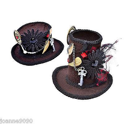 Ladies Steampunk Mini Top Hat Mad Hatter Halloween Fancy Dress Costume Accessory