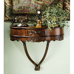 Transitional Louis Xv Xvi Wall Mounted Giltwood Console Table With Urn Finial Marble Top