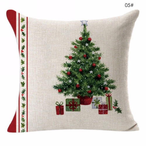 "Joyeux Noël taie d/'oreiller en lin 18/"" 18/"" Sofa Cushion Cover Home Decor"