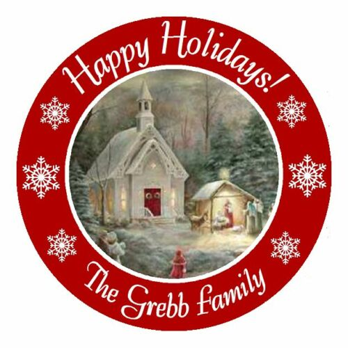 MERRY CHRISTMAS PERSONALIZED ROUND PARTY STICKERS FAVORS ~ VARIOUS SIZES