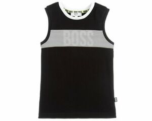 Hugo-Boss-Junior-039-s-J25D41-09B-Boys-Vest-Top-Black-Cotton-Tank-Top