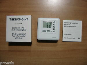 teknopoint tch1000 thermostat elektronisch wand wei lcd display ebay. Black Bedroom Furniture Sets. Home Design Ideas