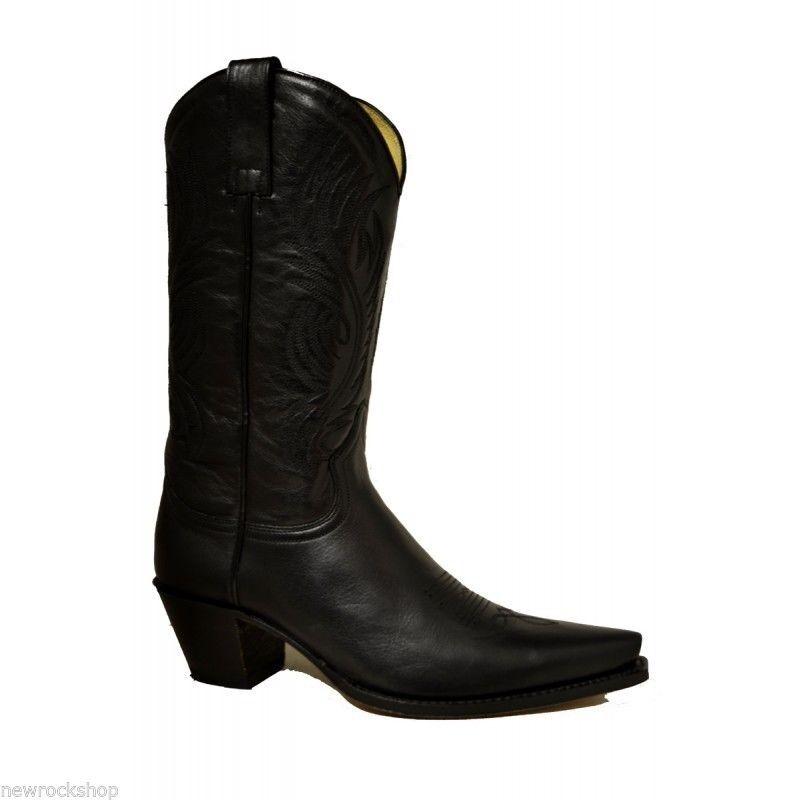 Grandes zapatos con descuento Sendra 2605 Unisex Cowboy Boots Black Leather Western Biker Handmade