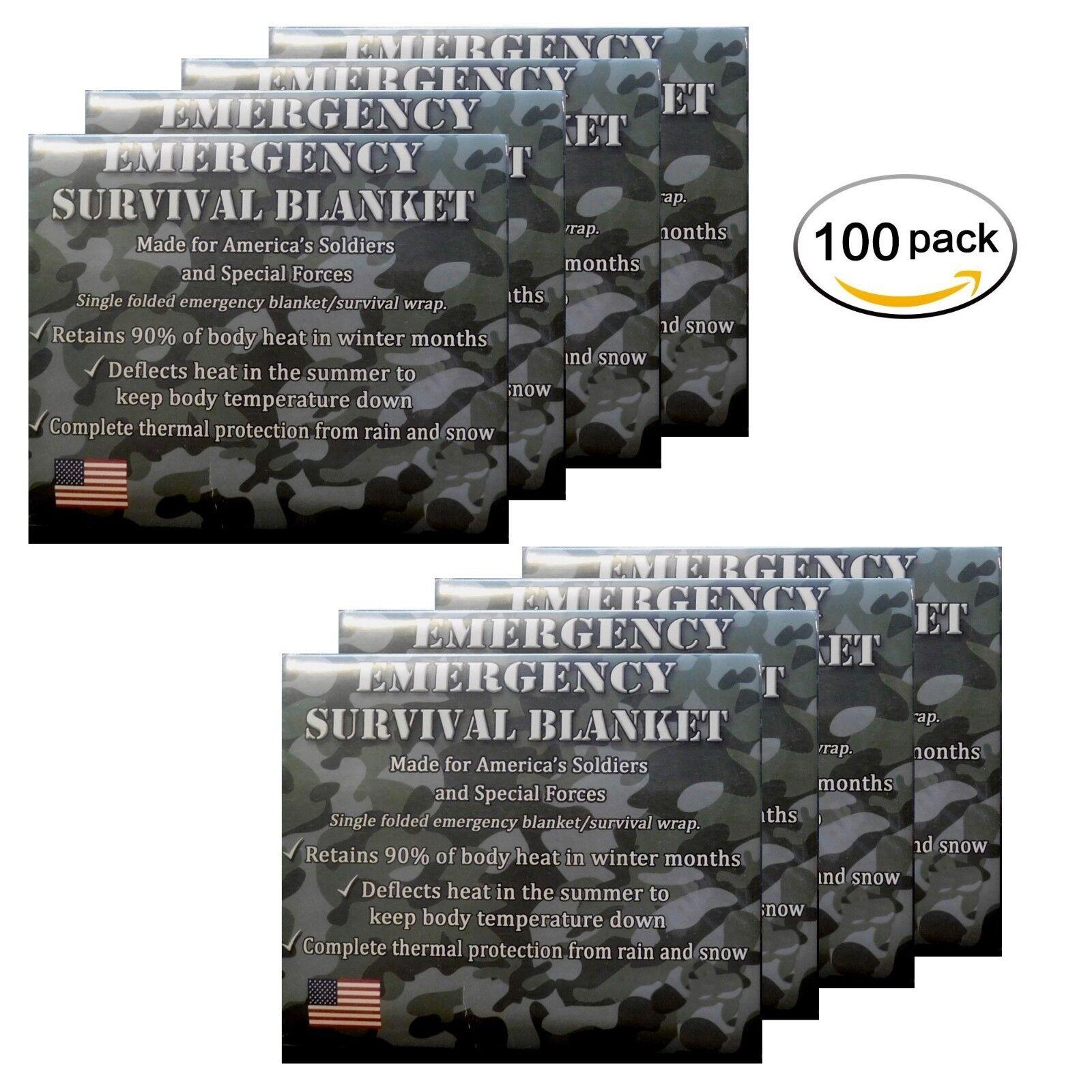 Emergencia Mylar Térmico Mantas 100-Pack diseñado para la NASA y el ejército estadounidense