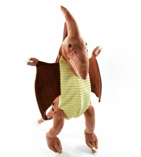 Großer Plüsch Rucksack Dino Flugsaurier Braun Tragegriff Dinosaurier Tasche Neu