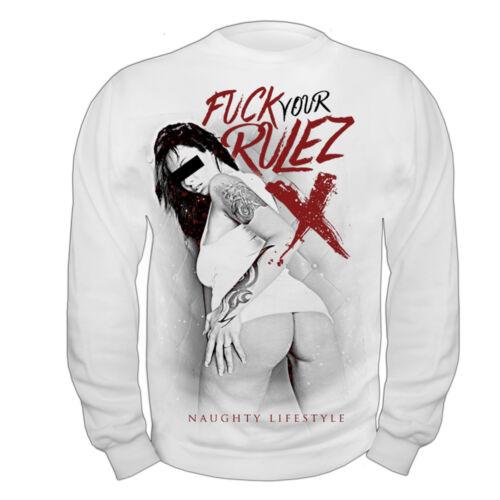 Pullover Sweatshirt Fuck Your Rulez naughty bitch fuck sex porno hot ass label