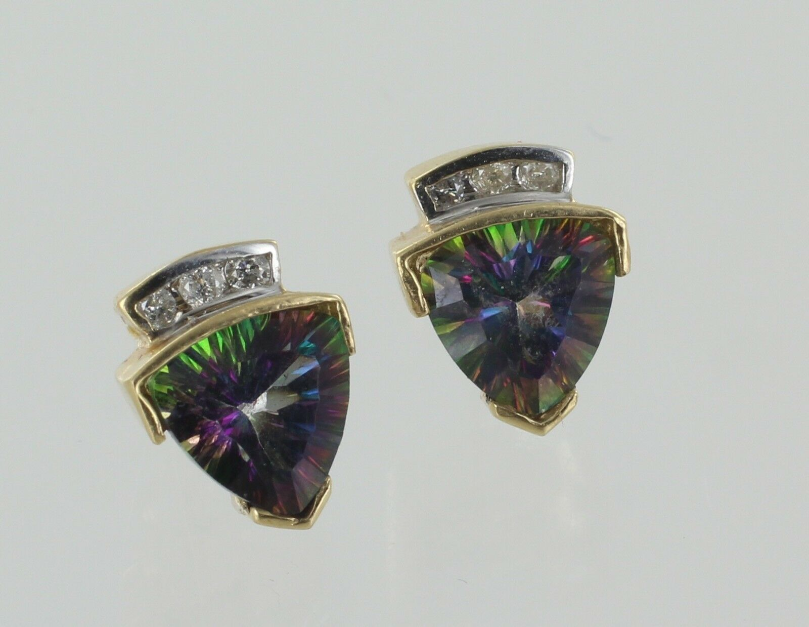 14ct Yellow gold Trillion Mystic Topaz and Diamond Earrings