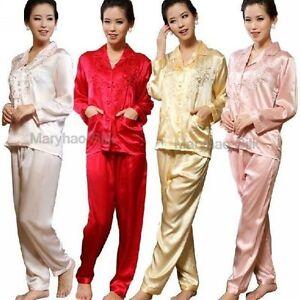 Women Silk Satin Pajamas Pajama PJS Set Sleepwear S,M,L 6, 8,10,12,14,16,L18