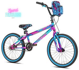 "20"" Girls Bike Kids Bicycle Steel Frame BMX Style with Kickstand Blue/Purple New"