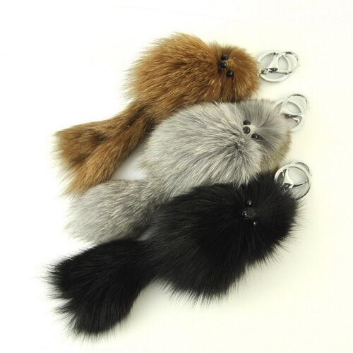 Women Genuine Fox Fur Key Chain Handbag Decoration Item Purse Gift Accessory