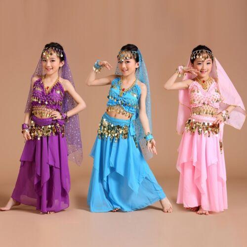 6 Farben 3 Größen ADN01# Kinder Mädchen Bauchtanz Kostüm Oberteil, Rock...