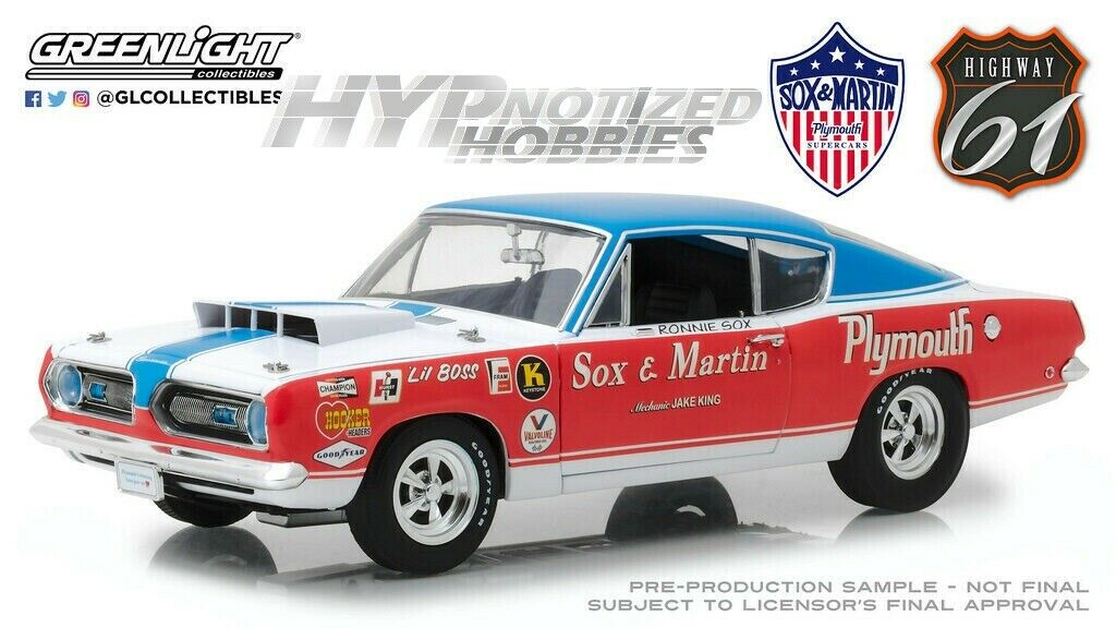 HIGHWAY 61 1 18 1968 PLYMOUTH BARRACUDA DIE-CAST MULTI 18003