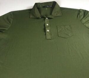 Ralph-Lauren-RLX-Polo-Shirt-Mens-2XL-Forest-Green-Wicking-Dri-Fit-Golf-Pocket