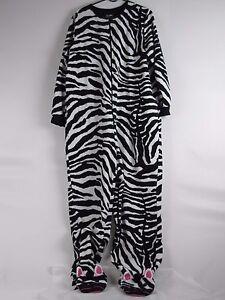 b2c9ccbf9623 Nick   Nora Zebra Footed Pajamas XXL 2XL Black White Striped One ...