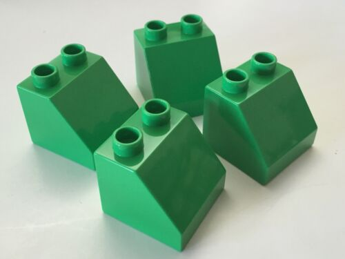 *NEW* 4 Pieces Lego DUPLO GREEN Brick 2x2 SLOPE 45