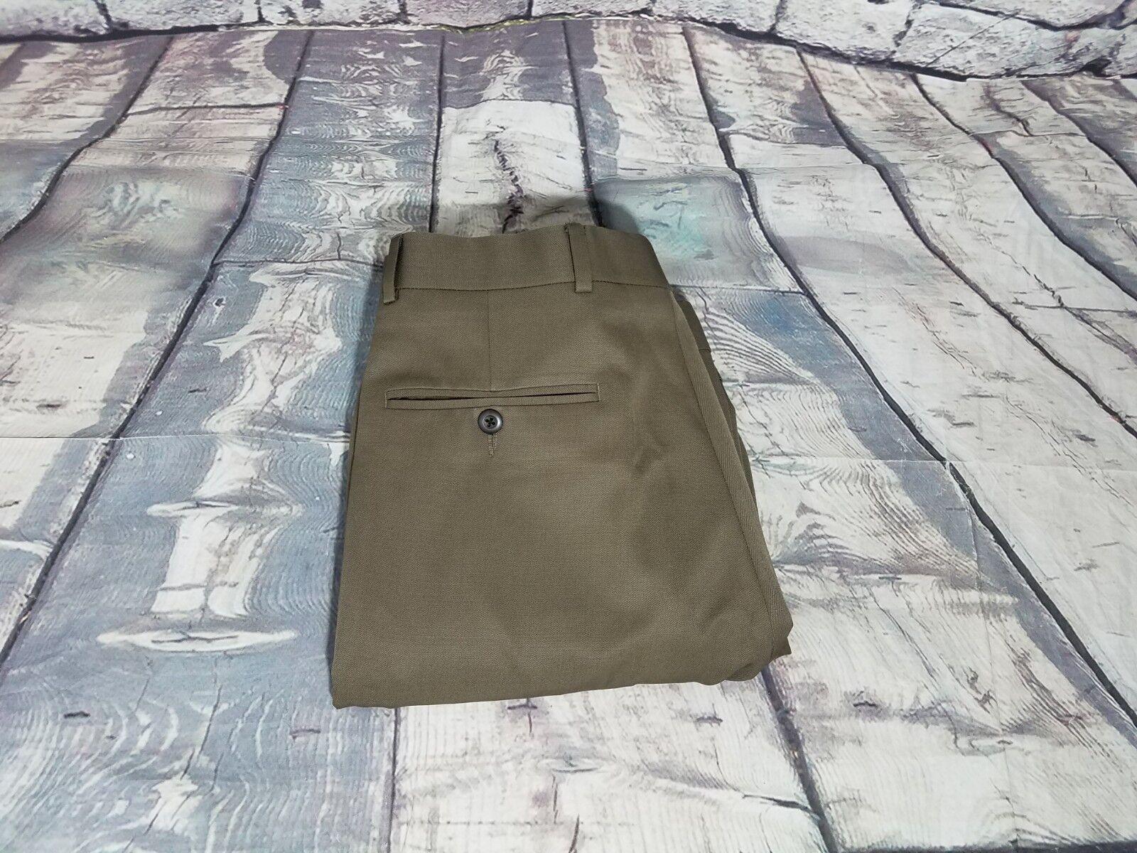 Brooks Bredhers 346 Men's Brown Pleated Wool Cuff Dress Trousers Pants 32X30