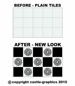 Squares + Flowers Stickers Stencils For 6\