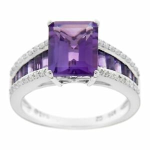 Natural Emerald-Cut Amethyst & 1/4 ct Diamond Ring in 14K White Gold