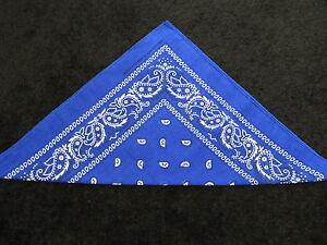 Paisley Bandana Double Sided Blue Fuchsia Blue 100/% Cotton