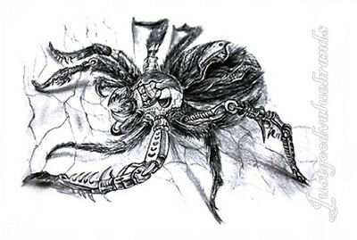 14f37a800 Halloween Scary Robotic Mechanic Crawling Spider Tarantula Temporary Tattoo  | eBay