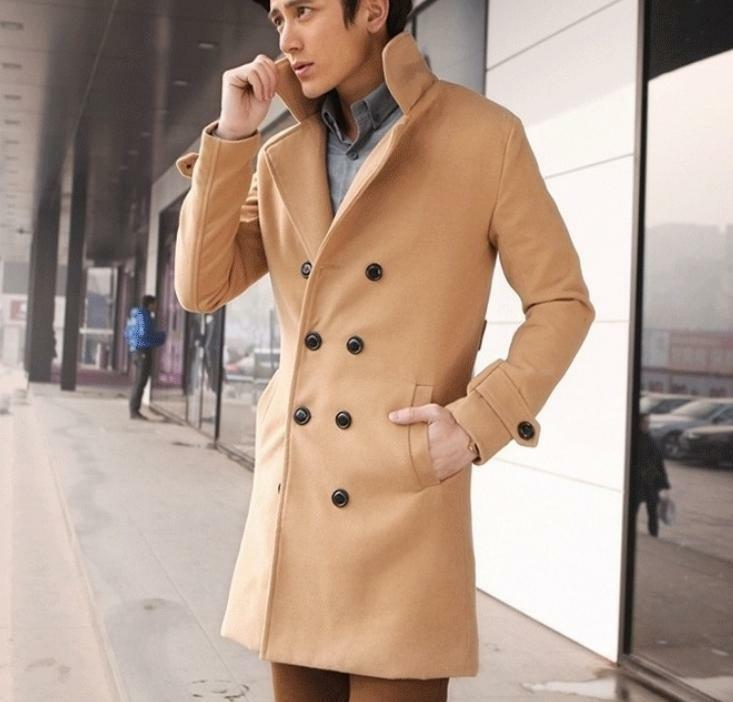 Retro Men's Coat Winter Wool Blend Double Breasted Long Slim Overcoat Parka New