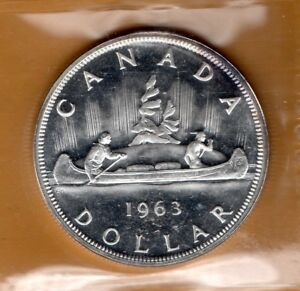 ICCS-PL66-PL-66-1963-Canada-1-Dollar-Beautiful-White-CAMEO-Proof-Like-Silver