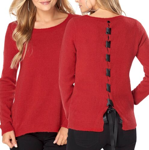Women/'s UK Size 10-20 Red Jumper with Ribbon Back