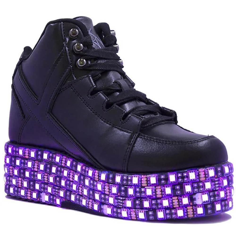 NIB Y.R.U. YRU Qozmo Low Key Platform Sneakers in Black SIZES 6-10 -SALE