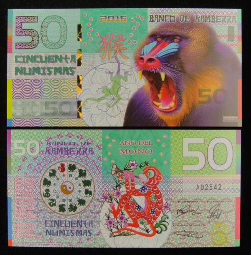Kamberra 50 Numismas POLYMER UNC Monkey China Lunar Year