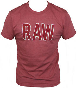 New-G-Star-Raw-Mens-T-Shirt-Round-Neck-in-Dry-Red-Colour-Size-M