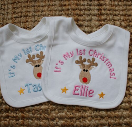 Gift Personalised Baby//Toddler 1st Christmas Bib New Embroidered Rudolf Design