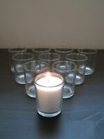10 Pk Beautiful Clear Glass Votive Tea Light Candle Holders Xmas Table Party