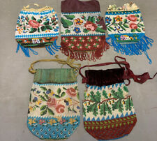 Lot (5) Antique 19thC VICTORIAN GLASS BEAD Flower & Old House PURSE Bag Folk Art