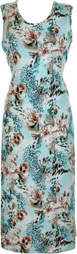 Ladies Women/'s Sleeveless Printed Summer Dress Calf Length