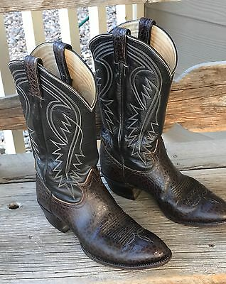 Tony Lama Men's Natural Leather 9 1/2 D Cowboy Western Boots H1811 9.5