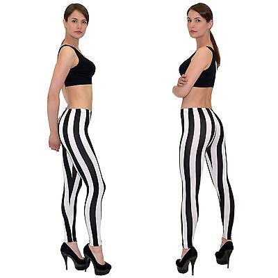 Leggings Leggins Hose Zebra Optik Hose mit schwarz weiß Streifen